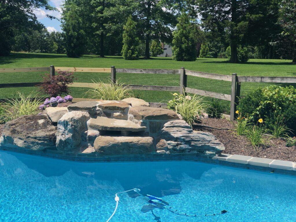 pool with rock arrangement