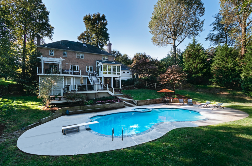 pool with large house